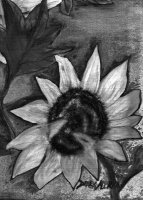Today's Art Print: Black and White Oil Sunflower art'