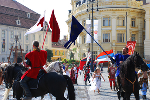 Today's Art Print: Medieval knights parade in Sibiu'