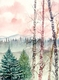 Title: birch tree landscape painting